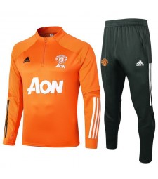 Manchester United Kids Orange Half Zip Soccer Tracksuit Sportswear 2020-2021
