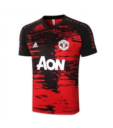 Manchester United Red/Black Stripe Short Sleeve Training Soccer Jerseys Mens Football Shirts Uniforms 2020-2021