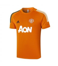 Manchester United Orange Short Sleeve Training Soccer Jerseys Mens Football Shirts Uniforms 2020-2021