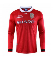 Manchester United Home Long Sleeve Retro Mens Soccer Jersey Football Shirt 1999-2000