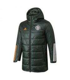 Manchester United Soccer Winter Jacket Army Green Football Cotton Coat 2020-2021