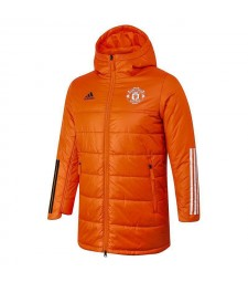 Manchester United Soccer Winter Jacket Orange Football Cotton Coat 2020-2021