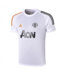 Manchester United White Short Sleeve Training Soccer Jerseys Mens Football Shirts Uniforms 2020-2021