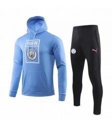 Manchester City Light Blue Hoodie Soccer Sweatshirt Kit 2019-2020