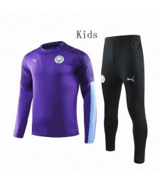 Manchester City Purple Round Neck Kids Tracksuit 2019-2020