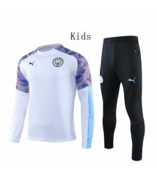 Manchester City White Round Neck Kids Tracksuit 2019-2020