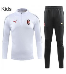 AC Milan White Kids Kit Tracksuit Zipper necked  2018-2019
