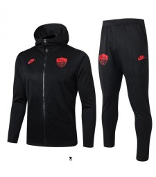 As Roma Black Hoodie Soccer Jacket Red Logo 2019-2020