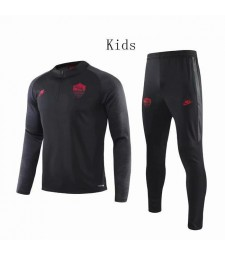 As Roma Black Round Neck Kids Soccer Tracksuit 2019-2020