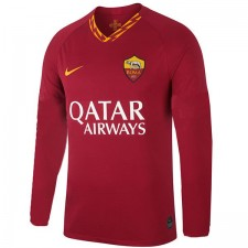 As Roma Home Long Sleeve Jersey Mens Soccer Red 2019-2020
