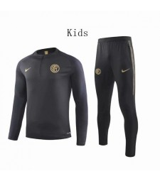 Inter Milan Black Round Neck Kids Soccer Tracksuit 2019-2020