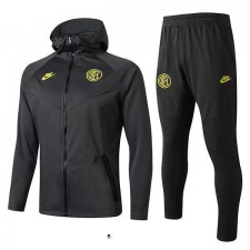 Inter Milan Hoodie Jacket Suit Borland Full Zipper Black 2019-2020