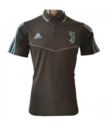 Juventus Polo Jersey Black Mens Shirt Blue Strip 2019-2020