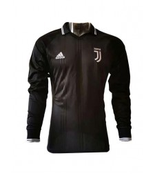 Juventus Polo Jersey Long Sleeve Mens Icon Football Training Jersey Black 2019-2020