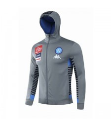 SSC Napoli Gray Hoodie Mens Soccer Jacket 2020-2021