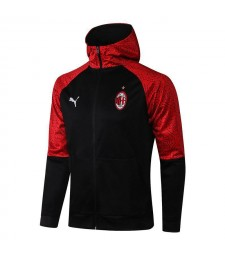 AC Milan Black Soccer Hoodie Jacket Mens Football Tracksuit Uniforms 2021-2022