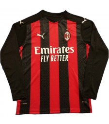 AC Milan Home Long Sleeve Soccer Jersey Football Shirts Uniforms 2020-2021