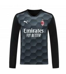 AC Milan Goalkeeper Long Sleeve Black Soccer Jersey Football Shirts Uniforms 2020-2021