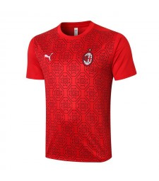 AC Milan Short Sleeve Training Red Soccer Jersey Football Shirts Uniforms 2020-2021
