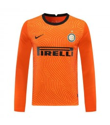 Inter Milan Orange Goalkeeper Long Sleeve Soccer Jersey Football Shirts Uniforms 2020-2021