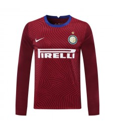 Inter Milan Red Goalkeeper Long Sleeve Soccer Jersey Football Shirts Uniforms 2020-2021