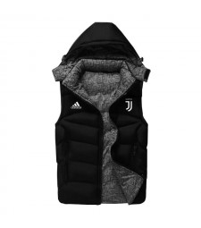 Juventus Padded Vest Black Sleeveless Full Zip Gilet 2020-2021