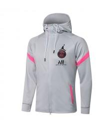 Jordan Paris Saint-Germain Gray Soccer Hoodie Jacket Football Tracksuit Uniforms 2021-2022