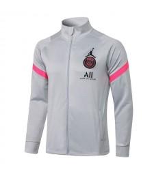 Jordan Paris Saint-Germain Light Gray Soccer Jacket Pants Mens Football Tracksuit Uniforms 2021-2022