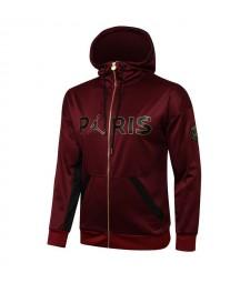 Jordan Paris Saint-Germain Wine Red Soccer Hoodie Jacket Football Tracksuit Uniforms 2021-2022