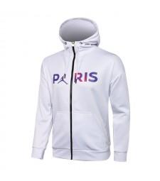 Jordan Paris Saint-Germain White Soccer Hoodie Jacket Football Tracksuit Uniforms 2021-2022