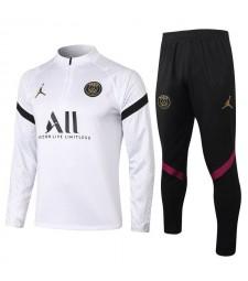 Jordan Paris Saint-Germain White Soccer Tracksuit Mens Football  Uniforms 2021-2022