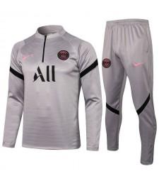 Paris Saint-Germain Gray Soccer Tracksuit Mens Football  Uniforms 2021-2022