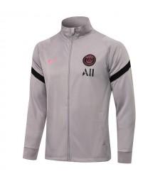 Paris Saint-Germain Light Gray Soccer Jacket Mens Football Tracksuit Uniforms 2021-2022