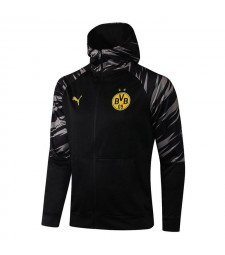 Borussia Dortmund Black Soccer Hoodie Jacket Football Tracksuit Uniforms 2021-2022