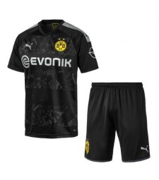 Borussia Dortmund Away Soccer Jersey Kids Kit Black 2019-2020