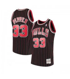 Chicago Bulls Scottie Pippen 33# Mitchell&Ness Black Striped Hardwood Classics Swingman Jersey 1995-1996