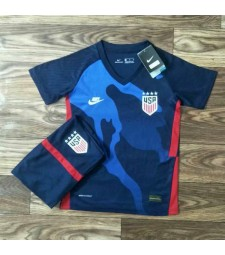 United States America USA Away Soccer Jersey Kids Football Kit Youth Uniforms 2020