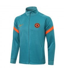 Chelsea Grass Green High Neck Soccer Jacket Pants Mens Football Tracksuit Uniforms 2021-2022