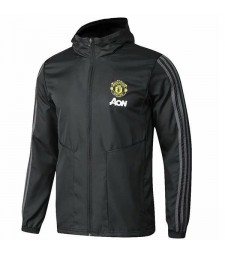 Manchester United Windbreaker Hoodie Sweater Jacket Black Soccer Coat 2019-2020